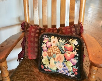 Beautiful Vintage Needlepoint Pillow with Fruits in Jewel Colors
