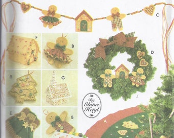 Simplicity Crafts 5891 from 1995. Christmas Decorations:  No sew Tree Topper, Ornaments, Tree Skirt, Wreath, Swag, House and Church.   UNCUT