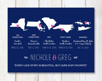 Anniversary gift idea for wife or husband - 1st anniversary gift for women men - Navy Blue wall art - DIGITAL file!