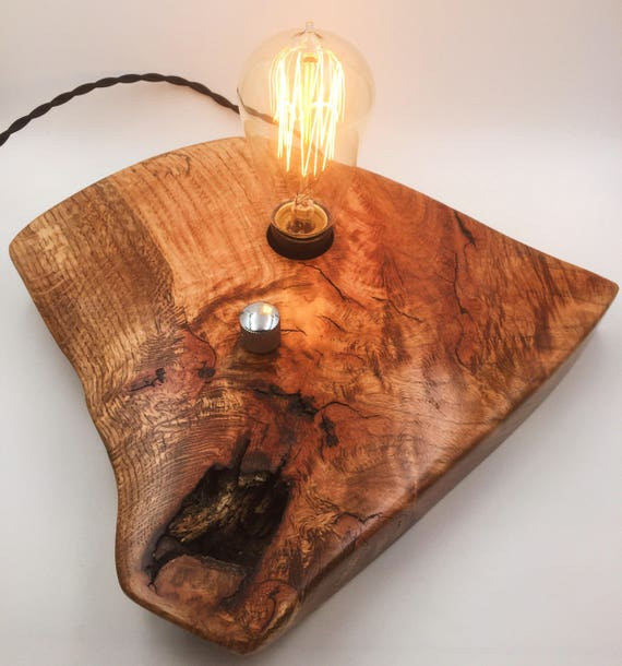 Live Edge Oak Wood Block Desk Lamp. Edison Bulb and dimmer switch with Guitar Knob