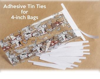 100 - Adhesive Tin Ties for 4-inch Bags - Pressure Sensitive Peel and Stick Closure for Paper & Plastic Gusset Bags