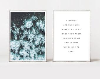 Ocean art, aerial ocean print, ocean photo, ocean poster, ocean quote, ocean wall art, aerial, blue ocean, beach art, twin prints, print duo