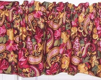 Brown Pink Yellow Whimsy Floral Flower Garden Curtain Valance