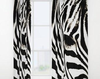 Zebra Curtains, Black And White Curtains, Zebra Print Curtain, Window  Curtains, Zebra