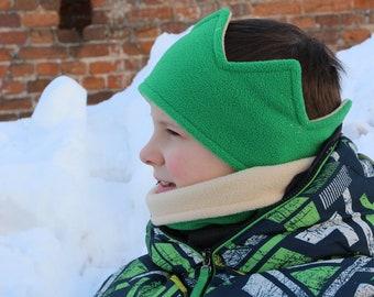 Green earwarmer | Fleece Crown Headband | Fleece Neck Gaiter | Fleece Set | Fleece crown | Outdoor crown | Two-sided headband | Ear warmer