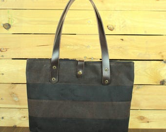 Waxed Canvas tote bag, Travel bag, Waxed denim tote, hand-Waxed bag with beeswax, tote bag with leather, waterproof tote bag,