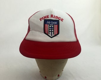 4f41cfa5670 Vintage 80s Pine Ridge Jobs Corps Trucker Hat    Snap-Back    Cap    Baseball  Cap    Labor    Jobs