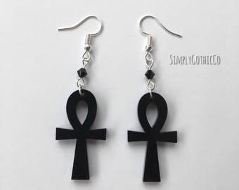 Gothic Black Ankh Earrings