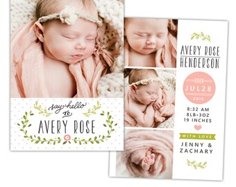 INSTANT DOWNLOAD - Photoshop Birth announcement template -  e1063