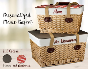 Personalized Wedding Gift - Picnic Basket with Embroidered Family Name, Engagement Gift Mothers Day Gift, Anniversary Gift