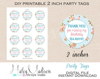 Tea party Thank you Tags, Favor Tags,  DIGITAL FILE