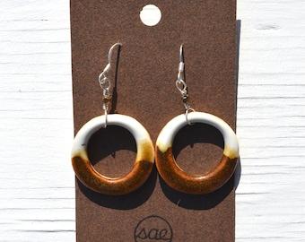 two-toned ceramic hoop earrings