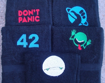 Hitchhiker's Guide to the Galaxy Don't Panic, Thumb, 42, Planet, and Marvin Hand Towels