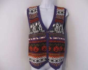 Vintage Halloween Vest Holiday Knitted Vest by Erika size Medium