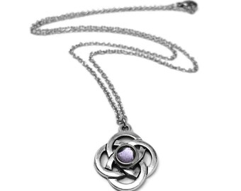 Celtic Knot Necklace, Lavender Jewelry, Irish Pendant, Resin Jewelry, Stainless Steel Necklace Chain