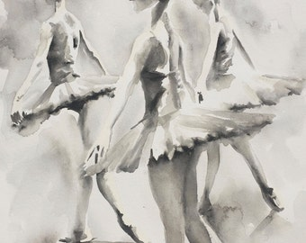 "Three Ballerinas ORIGINAL WATERCOLOUR PAINTING (14"" x 20"")"