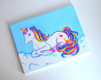 Rainbow Unicorn Wall Art - Custom Original Painting - Unicorn Nursery - Unicorn Decor - Rainbow Nursery - Rainbow Wall Art - Girl Room Decor