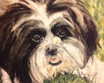 Bespoke needle felted, wool pet portrait