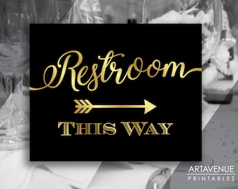 Chic Black and Gold Party Signs | Restroom This Way Sign | Restroom Sign Printables | Restroom Arrow Signs | Wedding Sign Downloads SCBG69