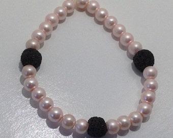 Pink and Black Diffuser Bracelet