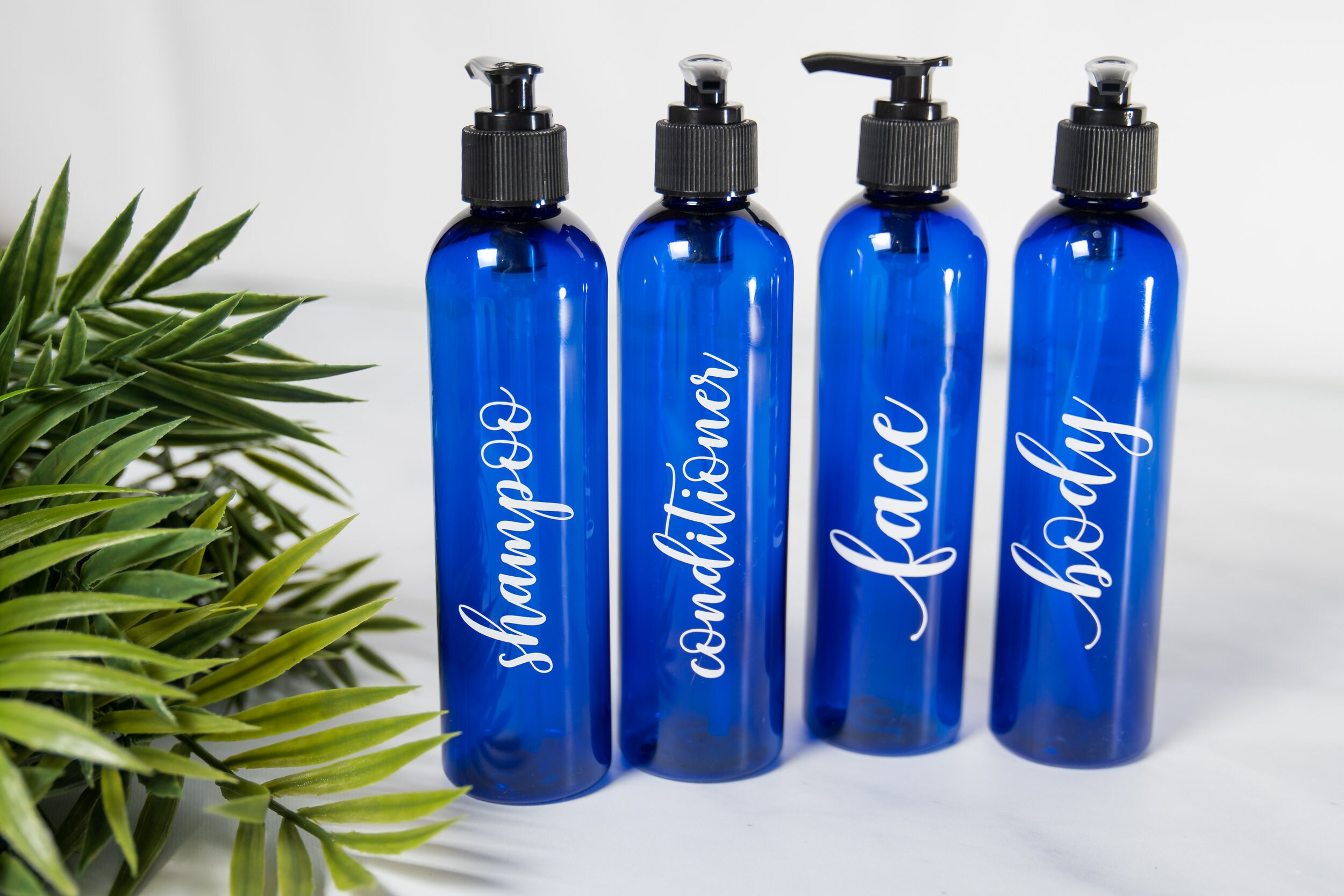 Spa Like Bathroom Decor, Travel Accessories and Organizers, Shampoo  Conditioner Body Wash Bottle, Face Wash Pump, Blue Bathroom Accessories