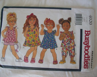 Butterick Busybodies 4020, Toddlers' Dress, Top, Shorts, Pants