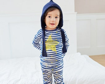 12M-7T 100% Cotton 2pcs Infant Kids Boys Loungewear Pajama Sleepwear Set Star