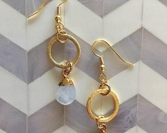 Geometric Gemstone Tear Drop Boho Earrings