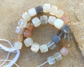 Multi Colored Moonstone Cube Beads, Moonstone Cube Beads, Faceted Moonstone Cube Beads, 8 inch strand, 7mm