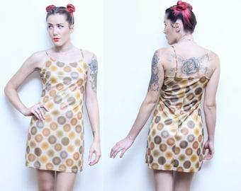 Vintage 90s does 60s PSYCHEDELIC dress // ladies size 6 ORANGE pop art pattern dress // circle pattern polyester raver mini dress