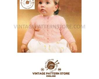 Babies, round neck, zig zag eyelet lace edged, raglan cardigan - 6 months -  1 year - Vintage PDF Knitting Pattern 94