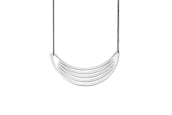 Necklace Mutation 01 - moon - silver mirror - statement jewellery - contemporary jewelry - designer accessory - lasercutting - acrylic