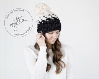 Knitting Pattern - Ombré Fair Isle Knit Hat With Pom Pom - The Minturn Hat