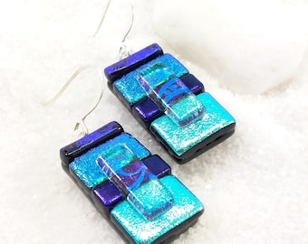 Dichroic glass jewelry, Artistic jewelry, dichroic earrings, fused glass earrings, statement earrings, bohemian earrings, dichroic glass