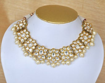 Meenakari kundan necklace with pearls matching earrings perfect for indian weddings, Indian jewelry