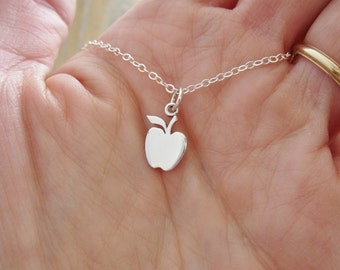 Apple fruit necklace etsy cute apple necklace solid sterling silver necklace teacher gift apple charm on silver mozeypictures Image collections