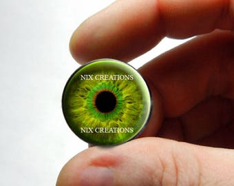 Glass Eyes - Zombie Green Yellow Glass Eyes Glass Taxidermy Doll Eyes Cabochons  - Pair or Single - You Choose Size