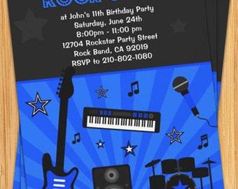 Boys Rock Star Birthday Party Invitation