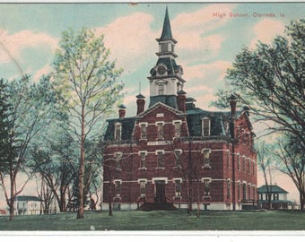"Iowa, Vintage Postcard, ""Clarinda High School, Clarinda, Iowa,""  1910s, #1247."