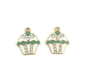 2 cupcake charms gold and  green enamel  20mm# CH 618