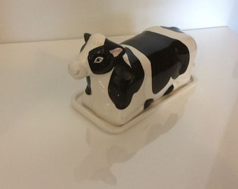 Vintage Cow butter dish