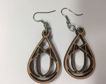 Wooden Tear Drop Loop Earrings