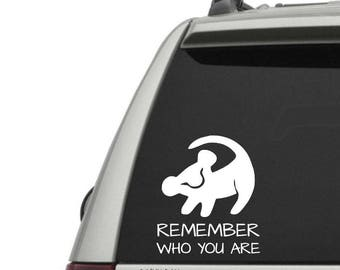 Remember who you are lion vinyl decal - nostalgic decal - nerd decal - car window decal - car decal sticker - laptop sticker - laptop decal