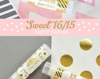 Sweet Sixteen Favors Sweet 16 Party Favors Quinceanera Favors Quinceanera Gift Favors Sweet 16 Lip Balm (EB3031FY) - 16| pcs