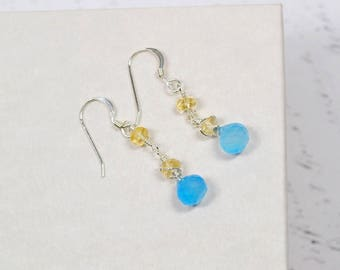 Blue and Yellow Gemstone Earrings, Citrine Chalcedony Earrings, Soft Pastel Dangles, Genuine Gemstone Sterling Silver, Sky Blue Sunny Yellow