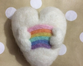 Felted Heart with Rainbow Newborn prop