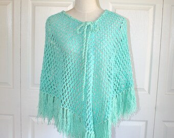 Vintage Green Knit Lace Poncho . Granny Handmade Crocheted Cape with Fringe . Boho Hippie Shawl Wrap . Size Small Medium