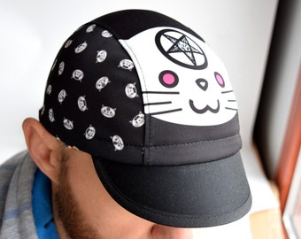 Black cycling cap with satanic cat print, Spandex cycle hat, Pentagram goat 666, Atheist