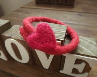 Red felted bangle bracelet with needle felted heart - Made to Order