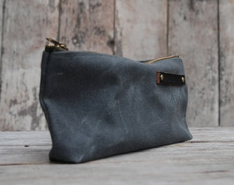 Waxed Canvas Pouch Medium Slate Grey Pencil Case Bag Cosmetic Case Makeup Bag Zipper Pouch Birthday Gift Monogram Bag Mothers Day Gift Men